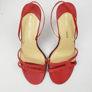 Ellen Tracy leather red strap sling back sandals